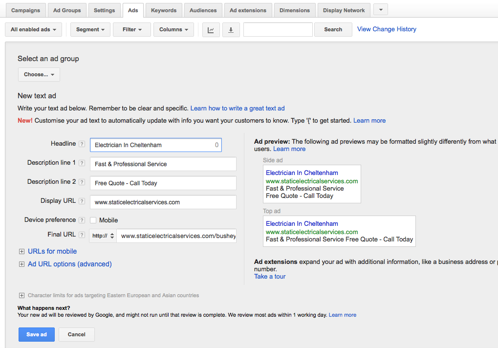 How to set up your Google Adwords account 5
